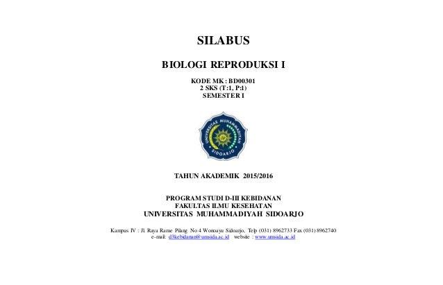 Silabusbiologi Reproduksi Ikode Mk Bd003012 Sks T1 P1semester