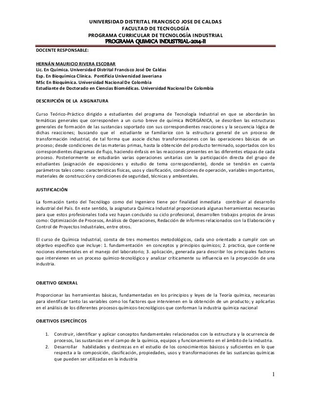 UNIVERSIDAD DISTRITAL FRANCISCO JOSE DE CALDAS FACULTAD DE TECNOLOGÍA PROGRAMA CURRICULAR DE TECNOLOGÍA INDUSTRIAL PROGRAM...