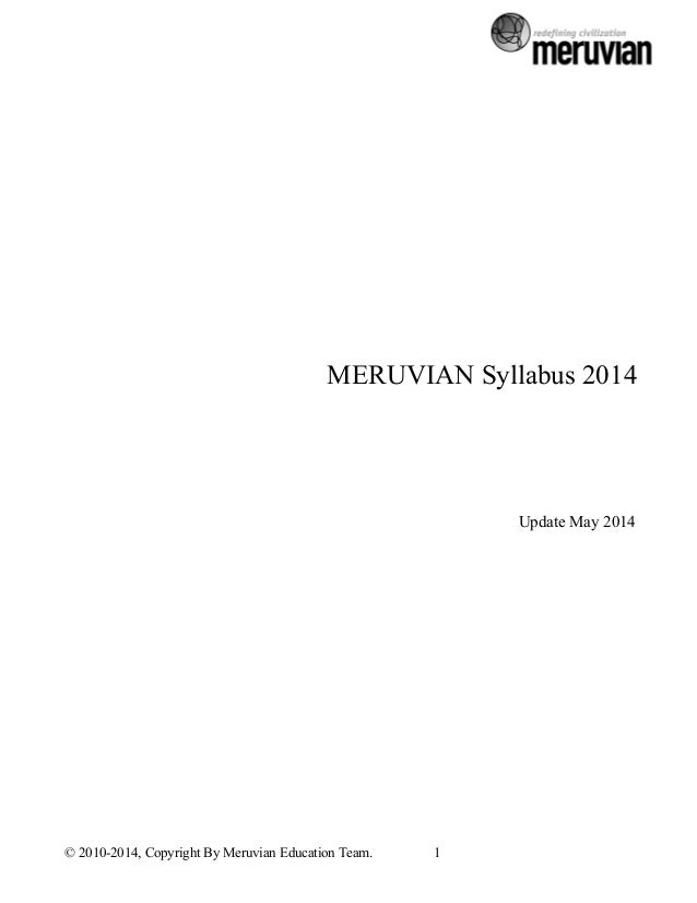 MERUVIAN Syllabus 2014            Update May 2014                                 ...
