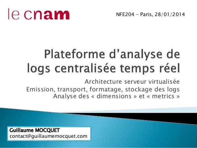 Architecture serveur virtualisée Emission, transport, formatage, stockage des logs Analyse des « dimensions » et « metrics...