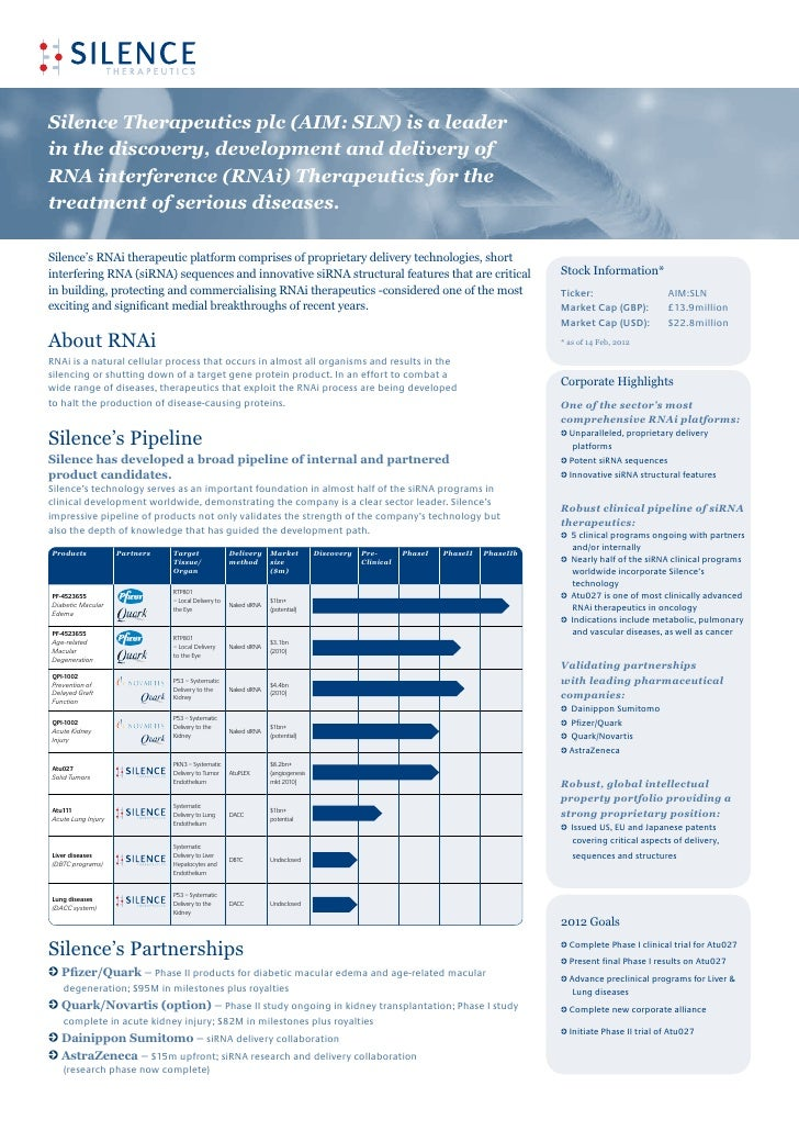 Silence Therapeutics Corporate Factsheet March 2012