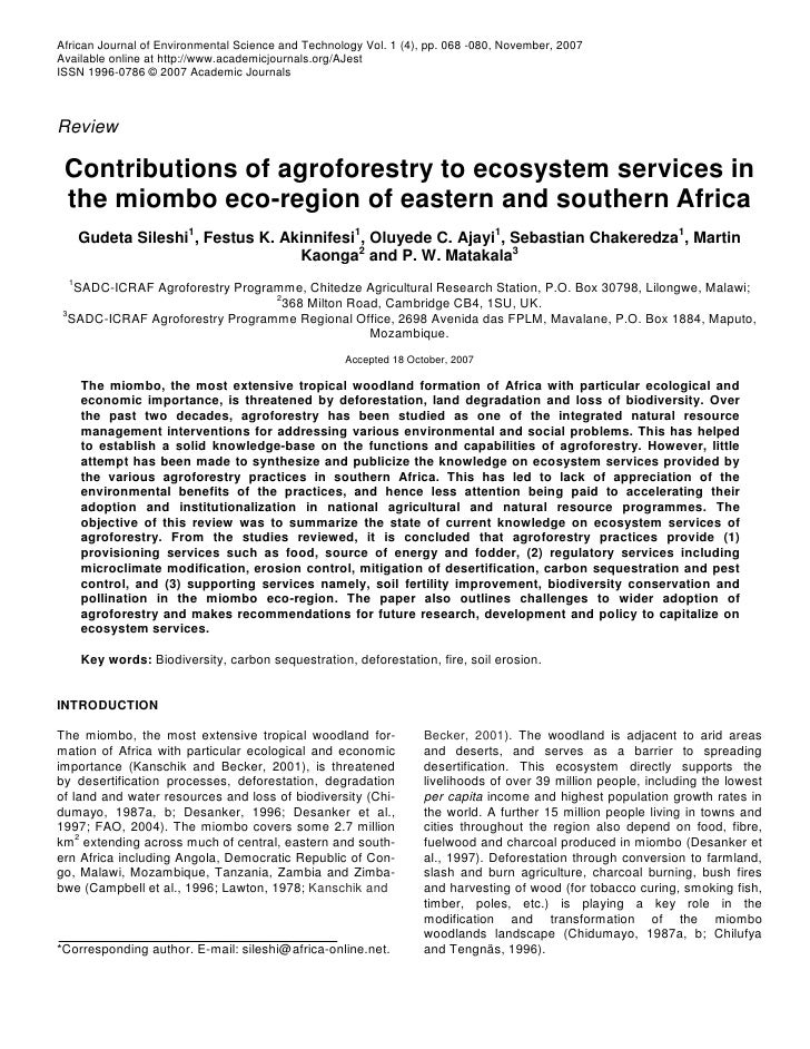 Agroforestry's Contributions to Ecosystem Enhancement in Miombo Region of Africa