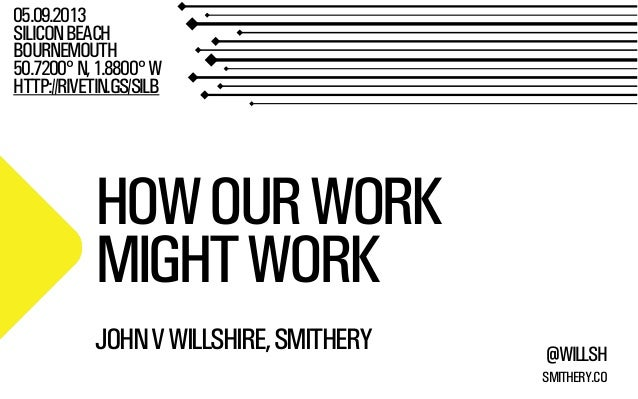 SMITHERY.CO @WILLSH HOWOURWORK MIGHTWORK 05.09.2013 SILICONBEACH BOURNEMOUTH 50.7200°N,1.8800°W HTTP://RIVETIN.GS/SILB JOH...