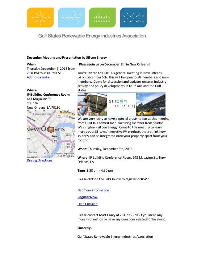 December Meeting and Presentation by Silicon Energy When Please join us on December 5th in New Orleans! Thursday December ...