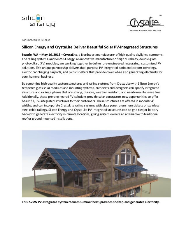 Silicon Energy - CrystaLite Press Release PV-Integrated Structures 05-16-13