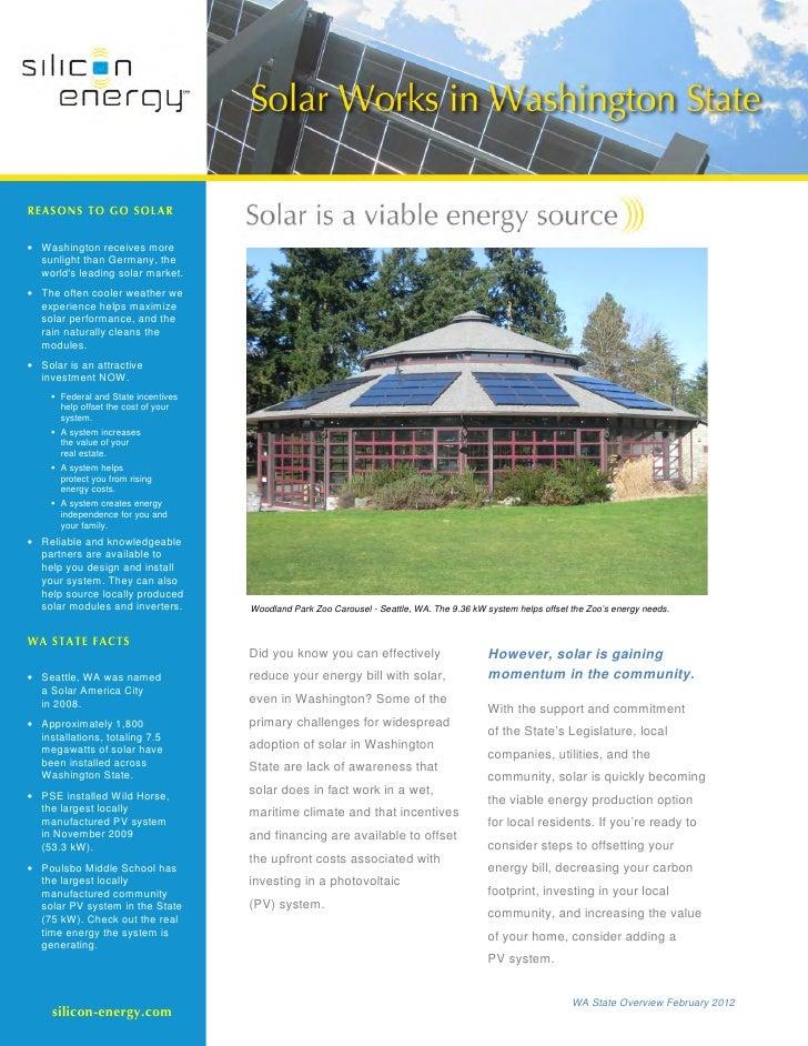 Silicon Energy Washington State Introduction Packet