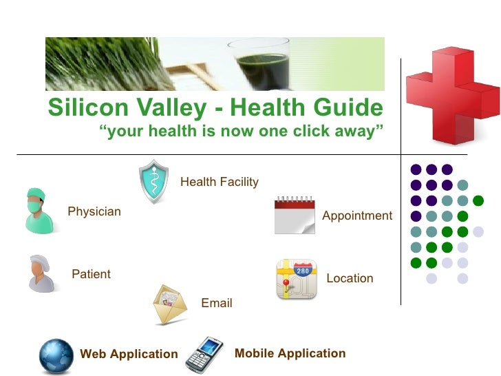 """Silicon Valley  -  Health Guide """"y our health is now one click away """" Health Facility Physician Email Appointment Mobile A..."""
