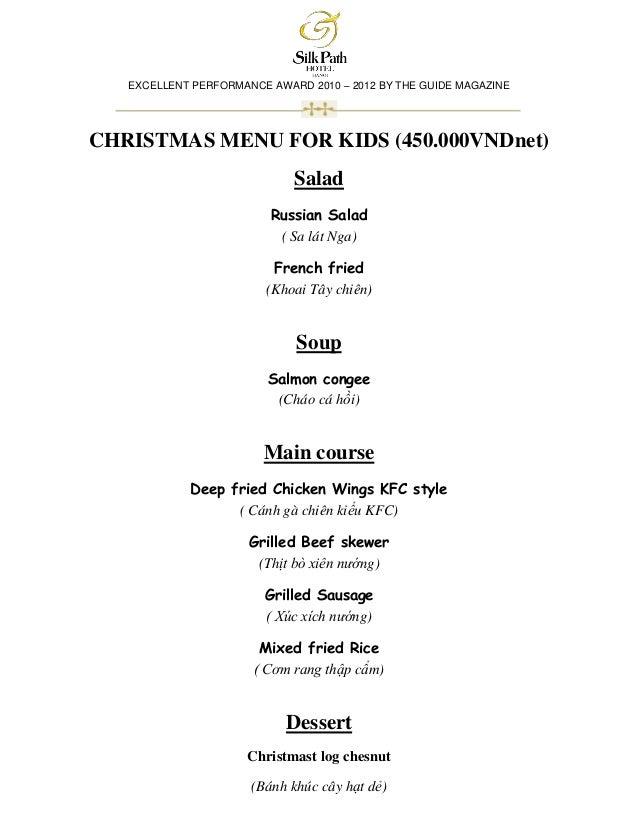 Silk path hotel menu for children x'mas 2012