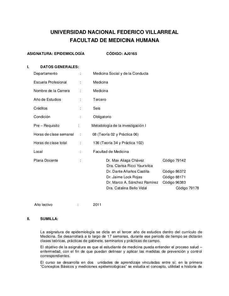 UNIVERSIDAD NACIONAL FEDERICO VILLARREAL                             FACULTAD DE MEDICINA HUMANAASIGNATURA: EPIDEMIOLOGÍA ...