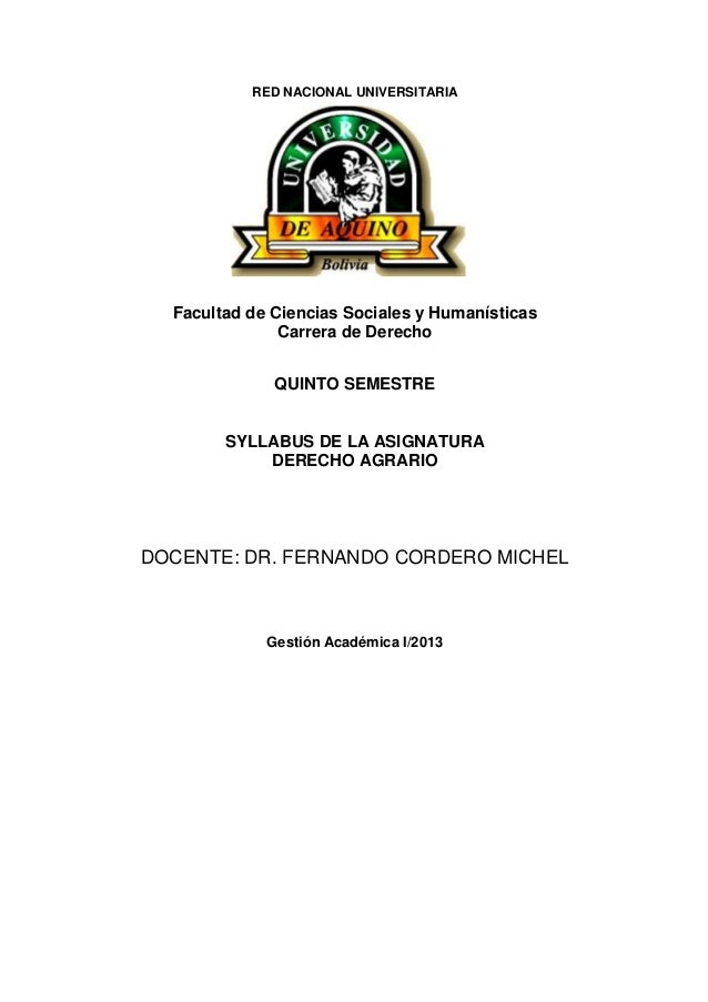 RED NACIONAL UNIVERSITARIA SYLLABUS Facultad de Ciencias Sociales y Humanísticas Carrera de Derecho QUINTO SEMESTRE SYLLAB...