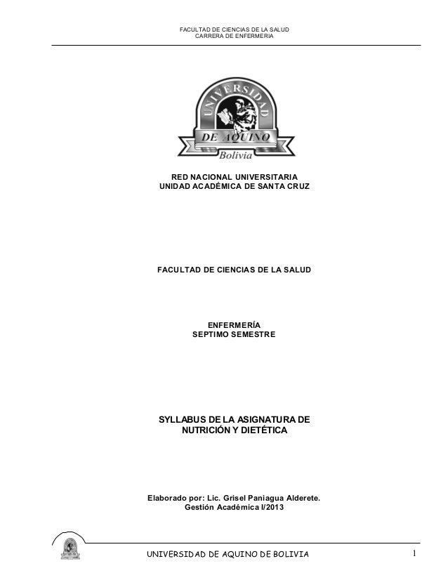 FACULTAD DE CIENCIAS DE LA SALUD CARRERA DE ENFERMERIA RED NACIONAL UNIVERSITARIA UNIDAD ACADÉMICA DE SANTA CRUZ FACULTAD ...
