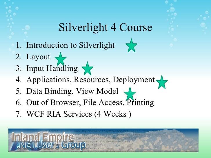 IEDOTNETUG Silverlight Class Week 6