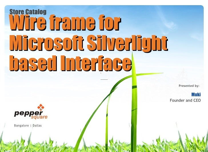 Microsoft Silverlight Wireframe interface