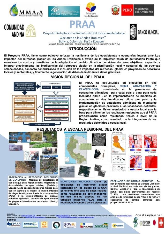 """PRAA Proyecto """"Adaptación al Impacto del Retroceso Acelerado de Glaciares en los Andes Tropicales"""" Con el apoyo de: INTROD..."""