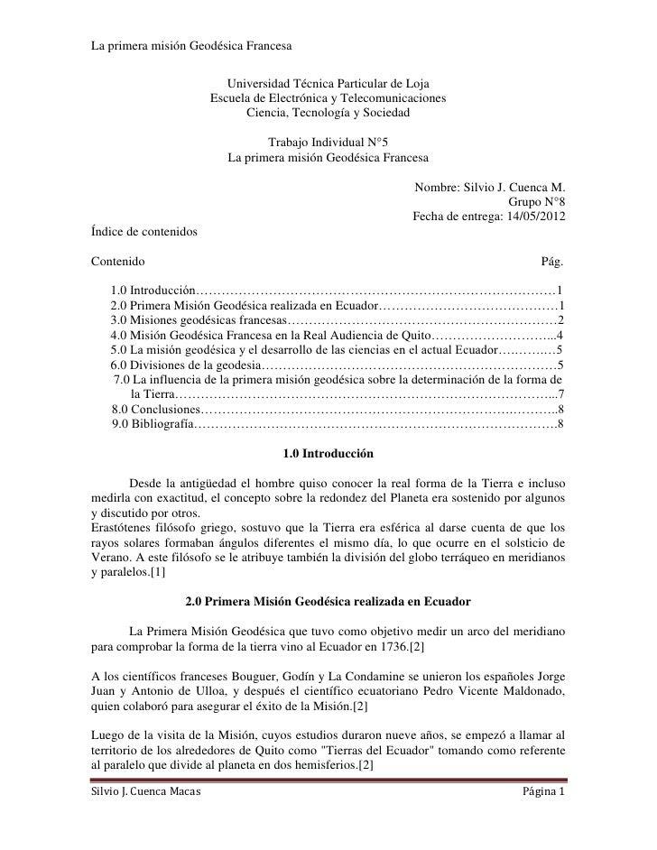 La primera misión Geodésica Francesa                            Universidad Técnica Particular de Loja                    ...