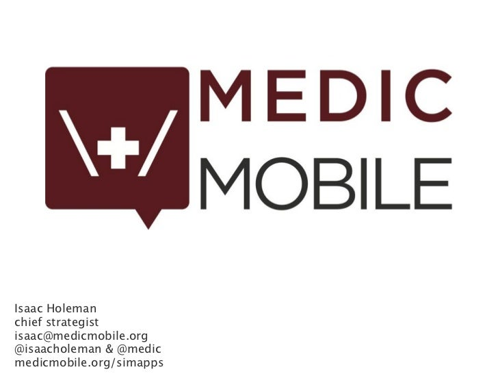 Medic Mobile SIM apps for mHealth June 2011