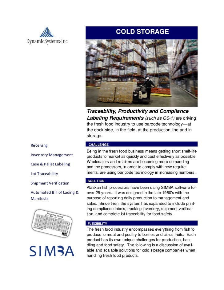 COLD STORAGE                             Traceability, Productivity and Compliance                             Labeling Re...