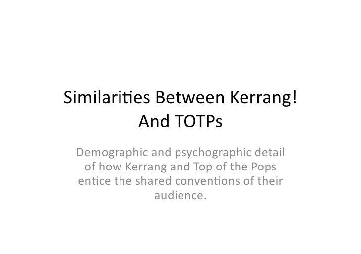 Similaries Between Kerrang!           And TOTPs  Demographic and psychographic detail   of how Kerra...