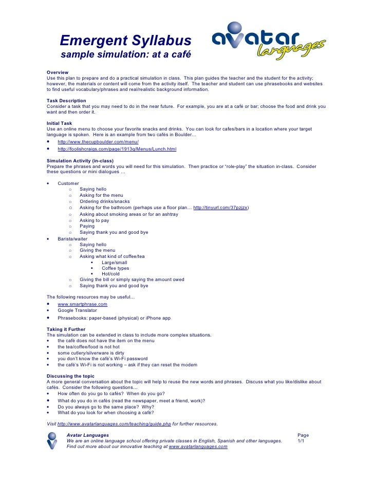 Emergent Syllabus       sample simulation: at a café Overview Use this plan to prepare and do a practical simulation in cl...