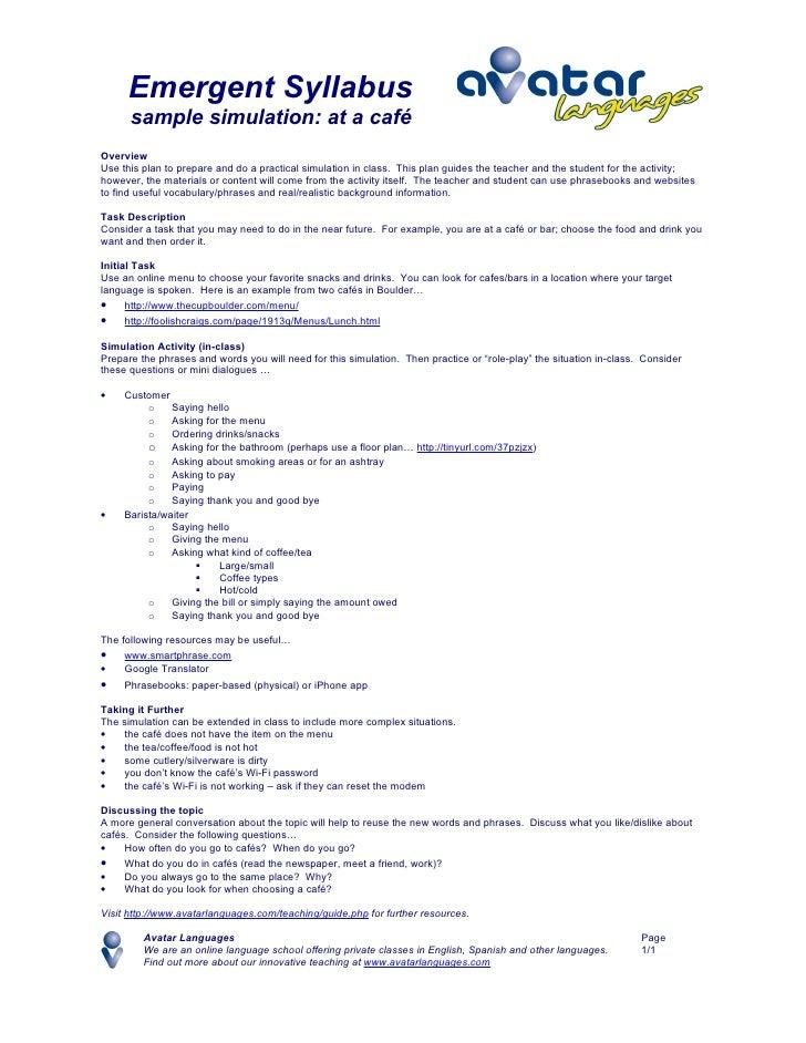 Simulation Plan - Cafe (Emergent Syllabus)