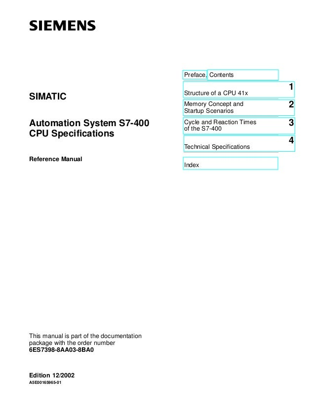 Preface, Contents  1  SIMATIC  Structure of a CPU 41x Memory Concept and Startup Scenarios  2  Automation System S7-400 CP...