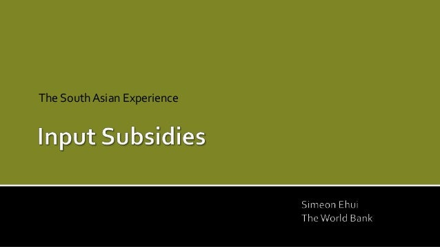 Input Subsidies -- The South Asian Experience by Simeon Ehui