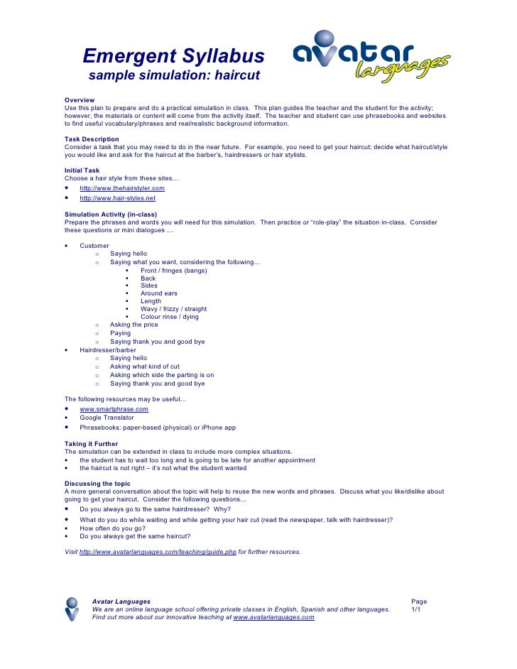 Emergent Syllabus        sample simulation: haircut Overview Use this plan to prepare and do a practical simulation in cla...