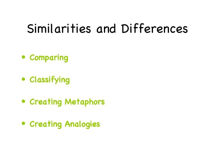Similarities and Differences <ul><li>Comparing </li></ul><ul><li>Classifying </li></ul><ul><li>Creating Metaphors </li></u...