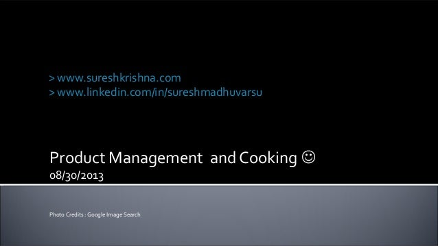 Product Management and Cooking similarities