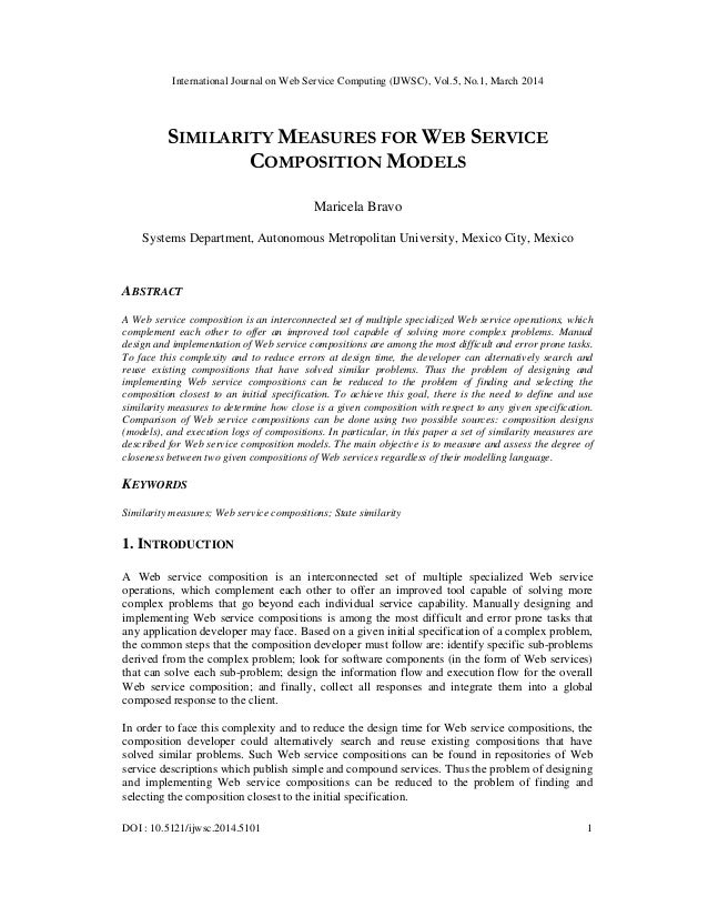 Similarity measures for web service composition models
