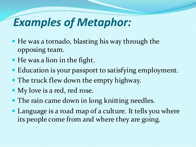 Homework help for metaphors