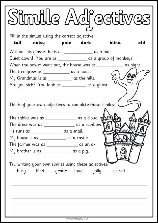 Similes Worksheets - Imatei