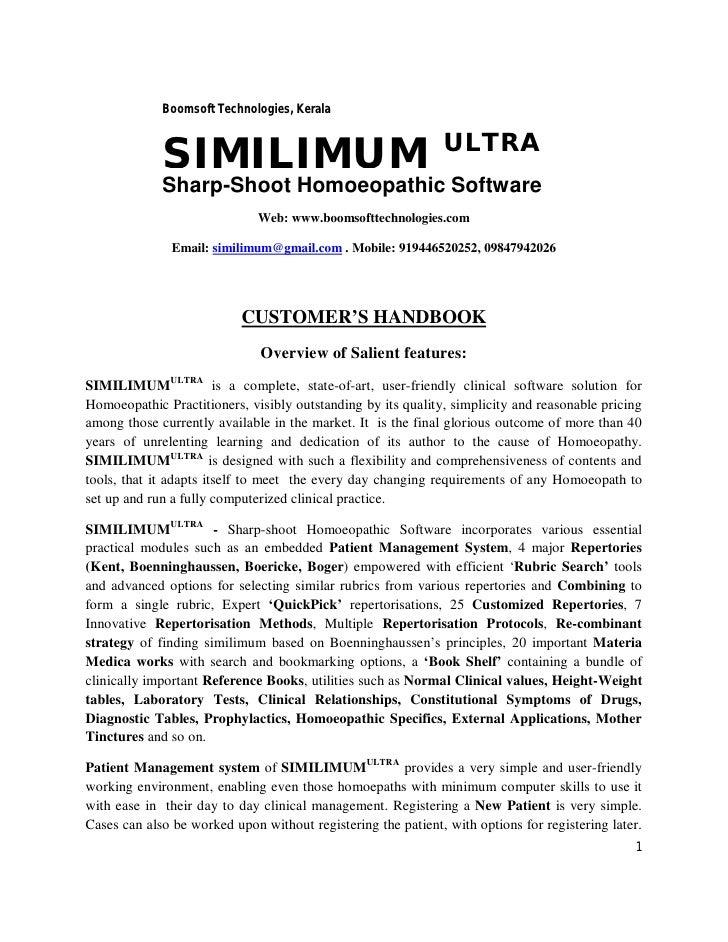Similimum Ultra- Homeopathic Software- Handbook