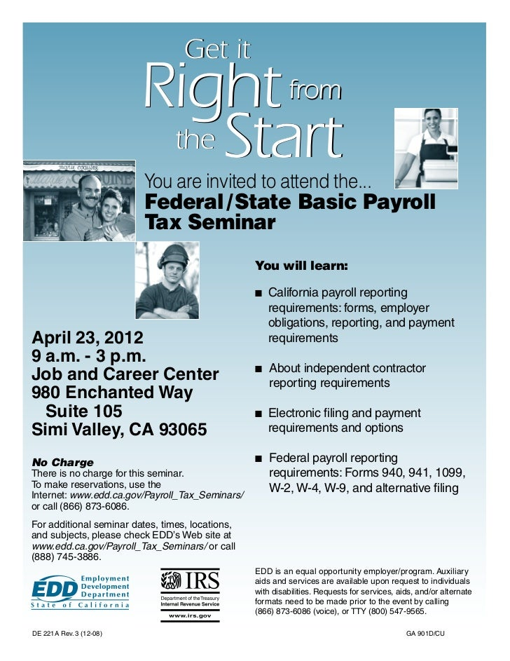 Federal/State Basic Payroll Tax Seminar