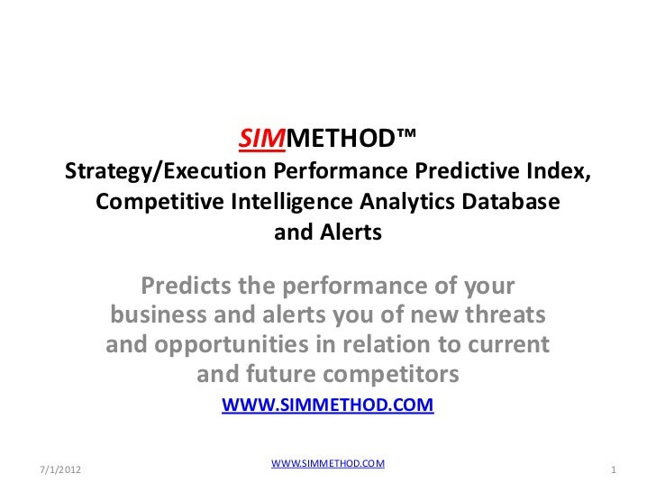 SIMMETHOD™    Strategy/Execution Performance Predictive Index,       Competitive Intelligence Analytics Database          ...