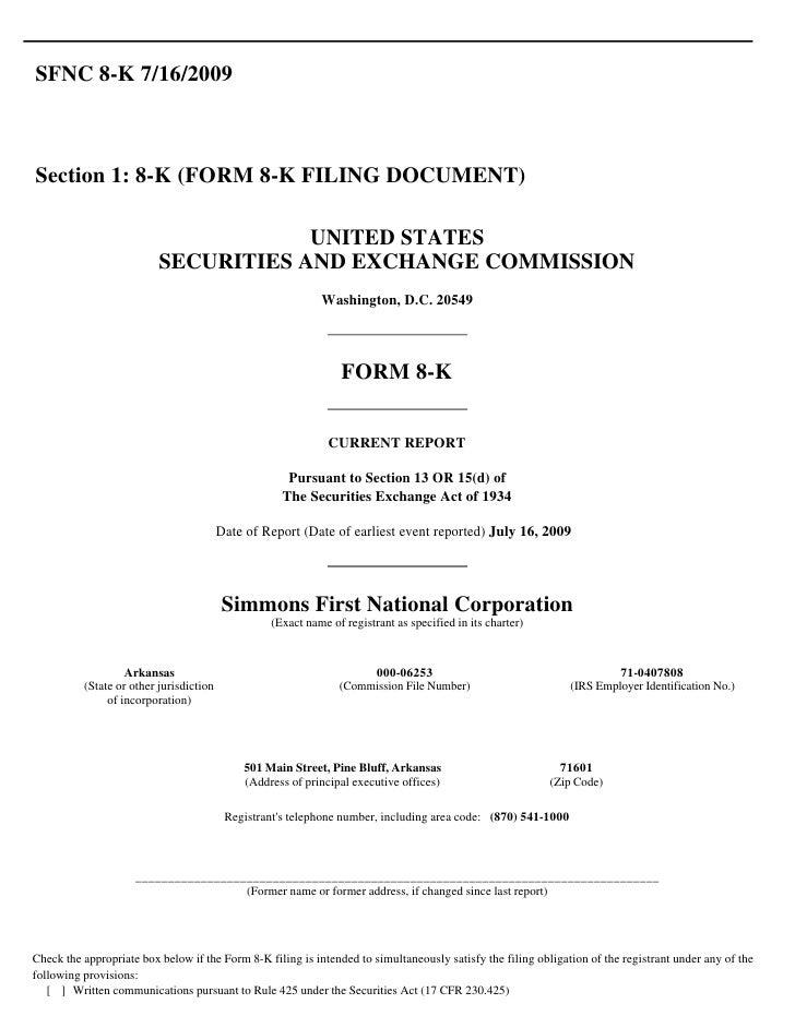 SFNC 8-K 7/16/2009    Section 1: 8-K (FORM 8-K FILING DOCUMENT)                                        UNITED STATES      ...