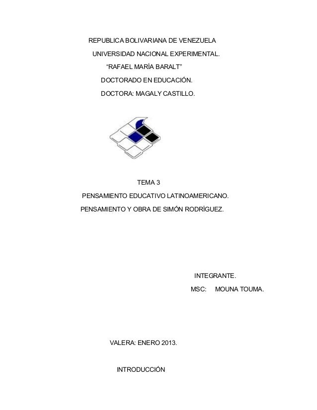 """REPUBLICA BOLIVARIANA DE VENEZUELA   UNIVERSIDAD NACIONAL EXPERIMENTAL.      """"RAFAEL MARÍA BARALT""""     DOCTORADO EN EDUCAC..."""