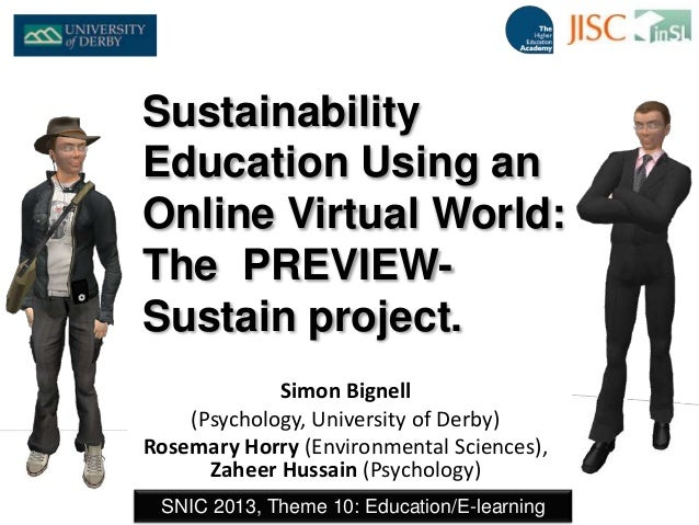 Sustainability Education Using an Online Virtual World:  The  PREVIEW-Sustain project.