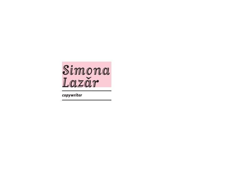 Simona Lazar    � copywriter