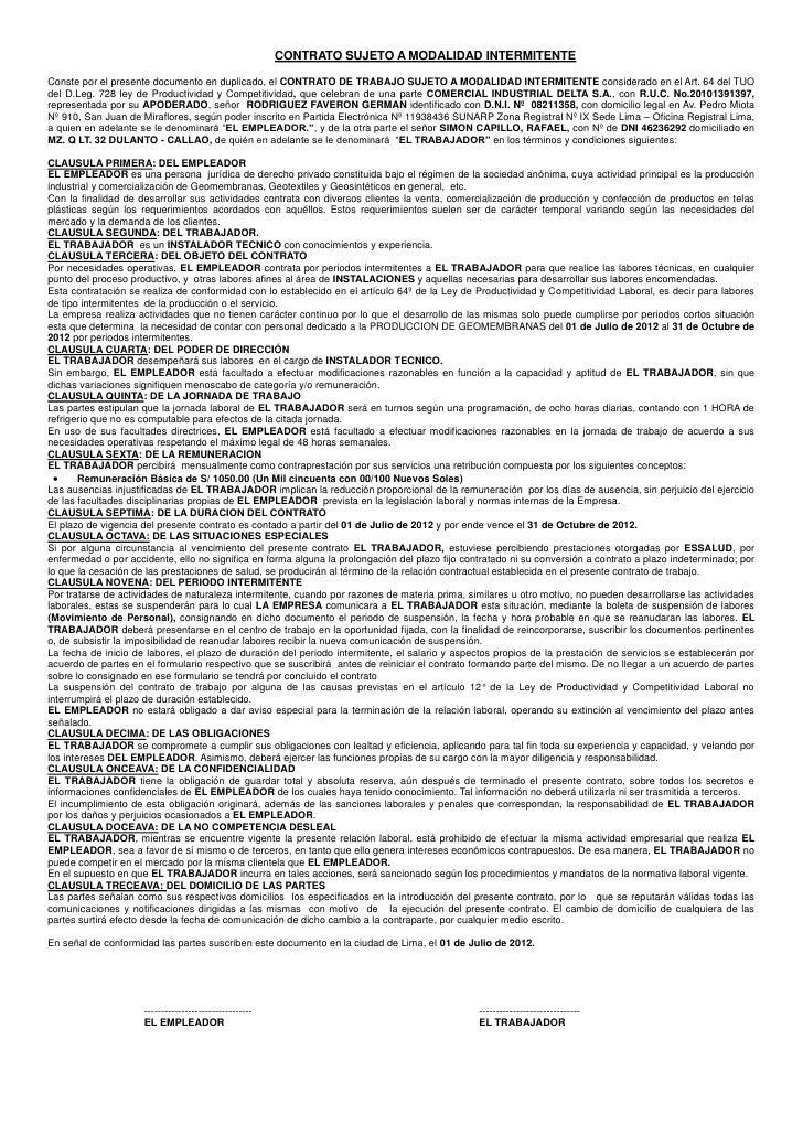 CONTRATO SUJETO A MODALIDAD INTERMITENTEConste por el presente documento en duplicado, el CONTRATO DE TRABAJO SUJETO A MOD...