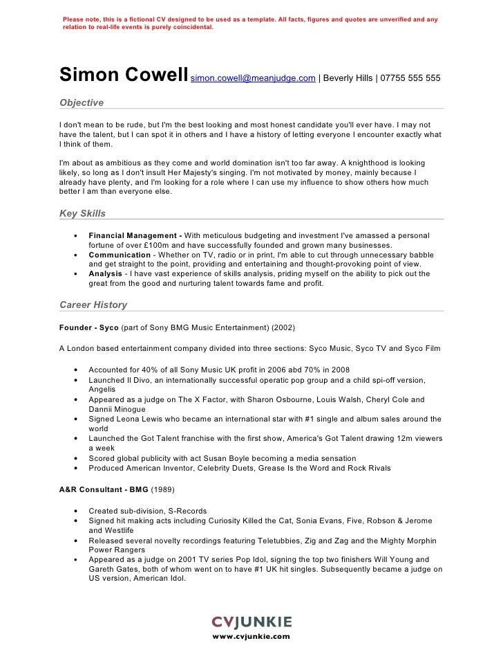 simon cowell cv template simon cowell cv template music resume samples