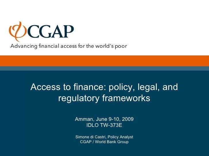 Simone Di Castri   CGAP   Microfinance Regulation And Supervision   Presentation Idlo Amman   June 2009