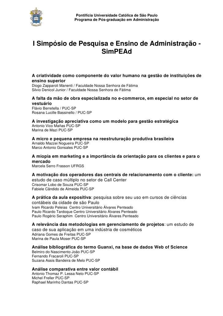 Pontifícia Universidade Católica de São Paulo                        Programa de Pós-graduação em AdministraçãoI Simpósio ...