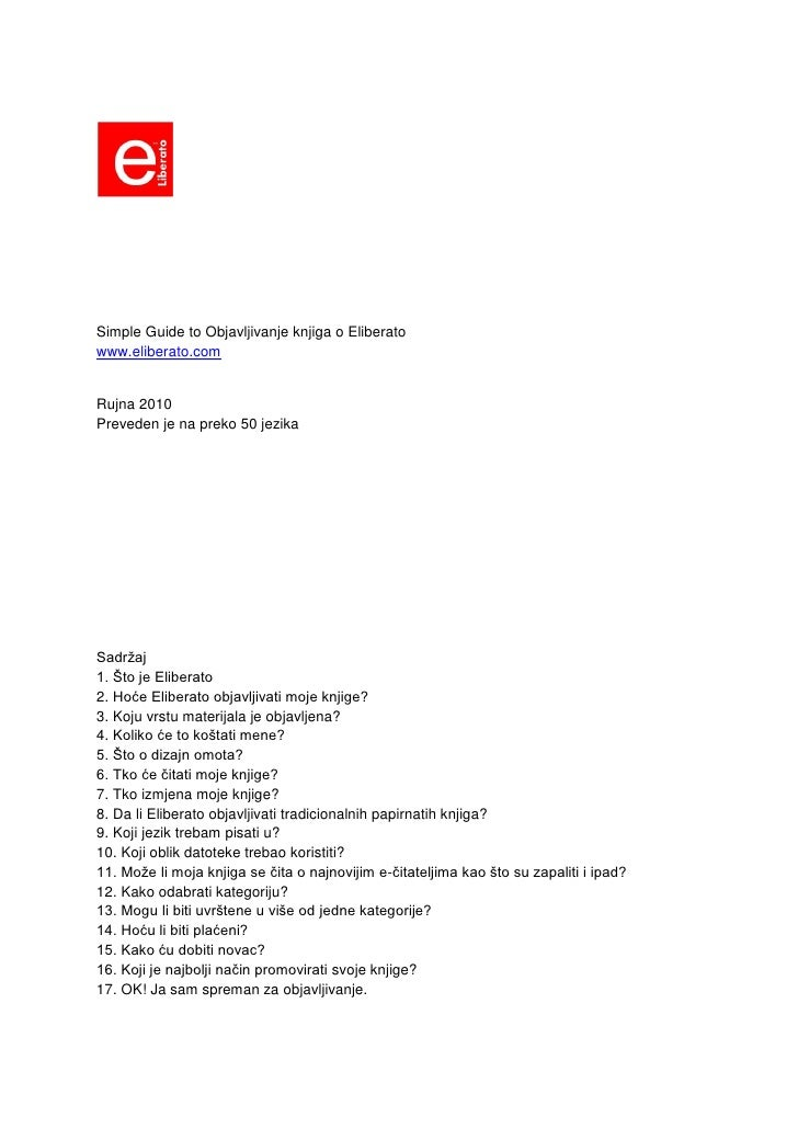 Croation Edition: Simple  Guide To  Objavljivanje Knjiga O  Eliberato ( Croatian)