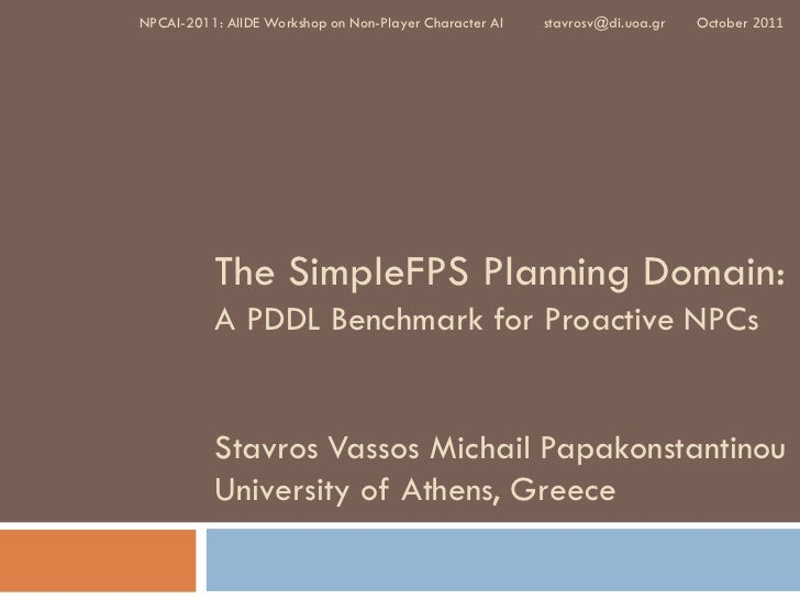 The SimpleFPS Planning Domain: A PDDL Benchmark for Proactive NPCs