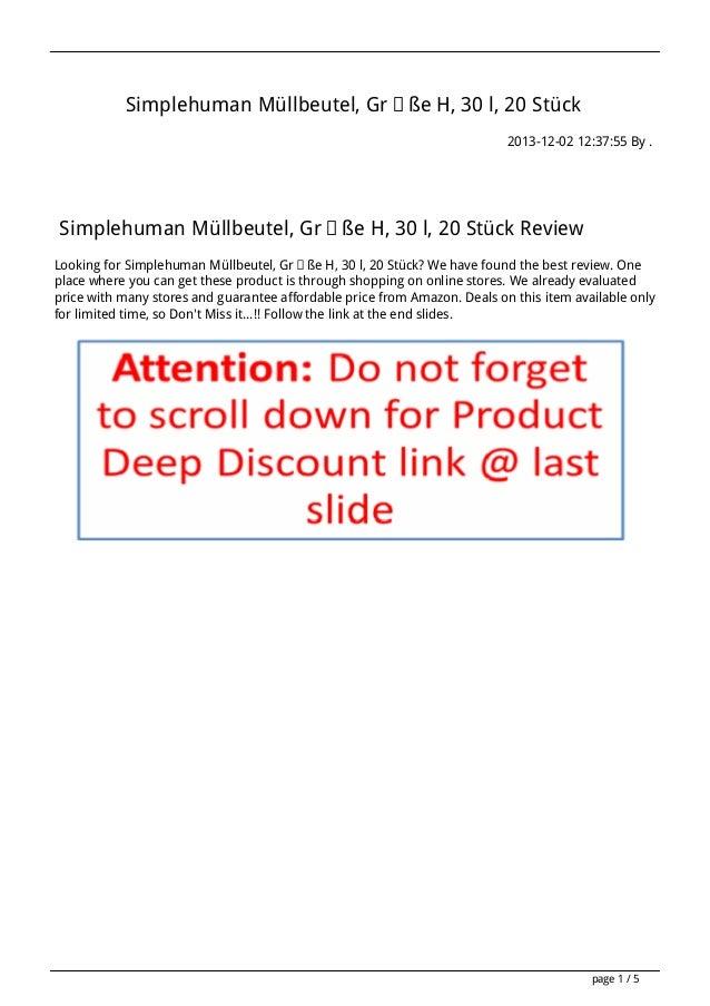 Simplehuman Müllbeutel, Größe H, 30 l, 20 Stück 2013-12-02 12:37:55 By .  Simplehuman Müllbeutel, Größe H, 30 l, 20 Stück ...