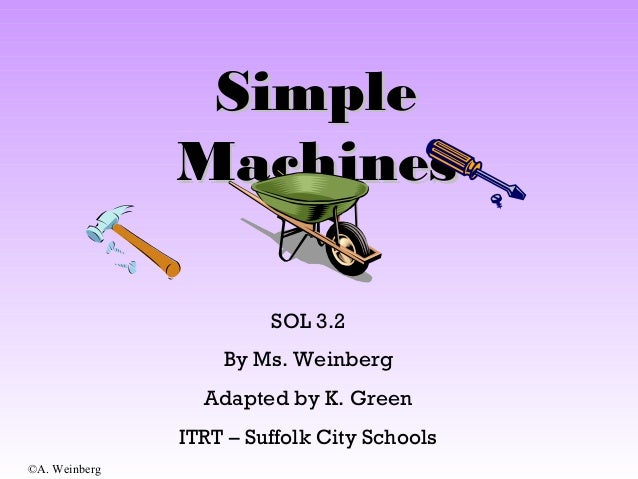 ©A. Weinberg SimpleSimple MachinesMachines SOL 3.2 By Ms. Weinberg Adapted by K. Green ITRT – Suffolk City Schools