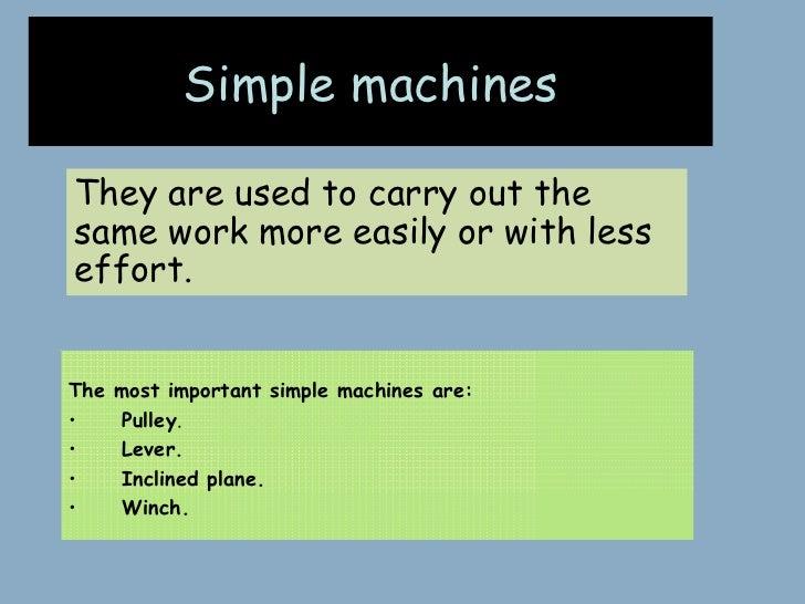 Simple machines - Description