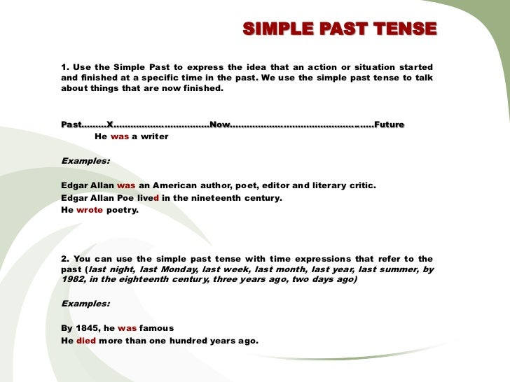 SIMPLE PAST TENSE1. Use the Simple Past to express the idea that an action or situation startedand finished at a specific ...