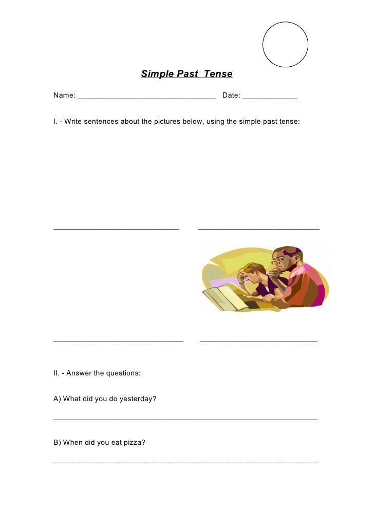 Simple past  tense exam 2